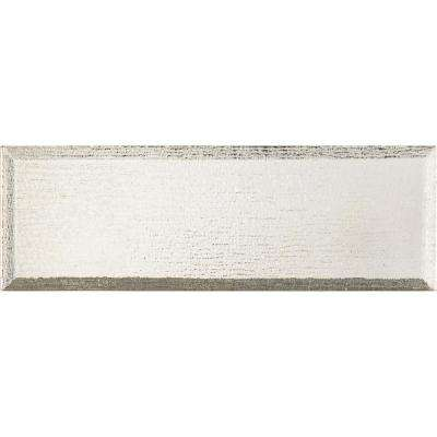 Silver Glisten Beveled 4 in. x 12 in. Glass Wall Tile (5 sq. ft. / case)