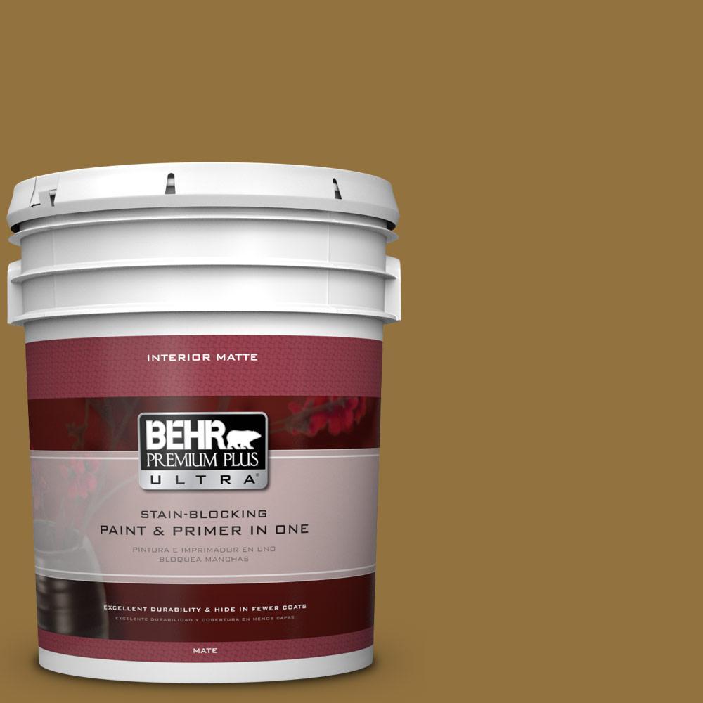 5 gal. #350D-7 Cattail Brown Flat/Matte Interior Paint
