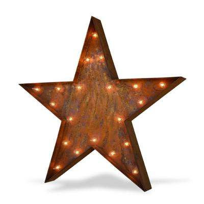 36 in. H x 37 in. W Large Rusted Steel Star Plug-In Marquee Light