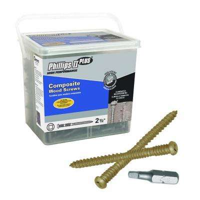 #10 2-1/2 in. Internal Square Button-Head Composite Deck Screws (5 lb.-Pack)