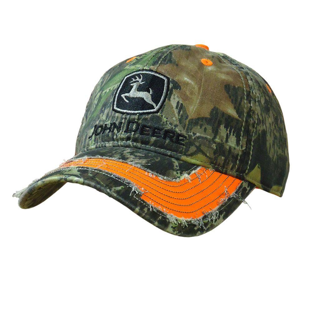 John Deere Unstructured CAMO 6 Panel Twill Cap/Hat with Blaze Orange Distressed Visor