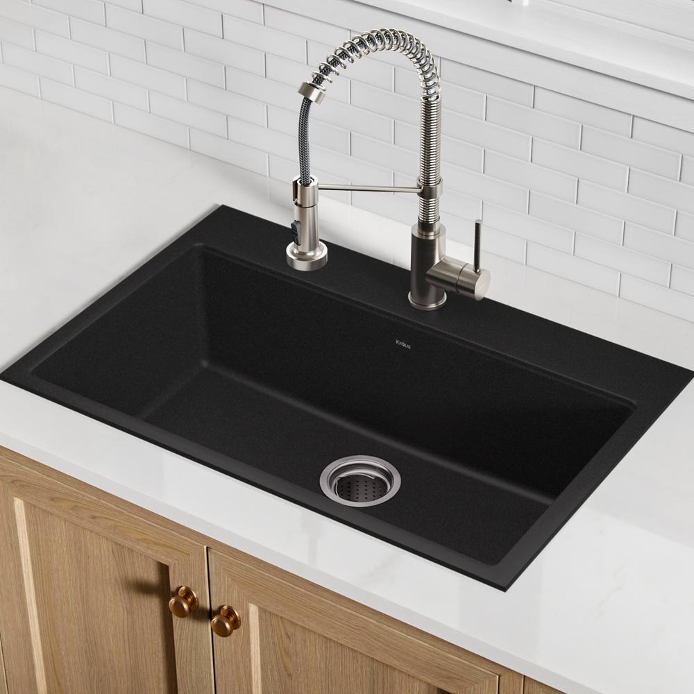 Drop-in/Undermount Granite Composite 31 in. 1-Hole Single Basin Kitchen Sink Kit in Black Onyx