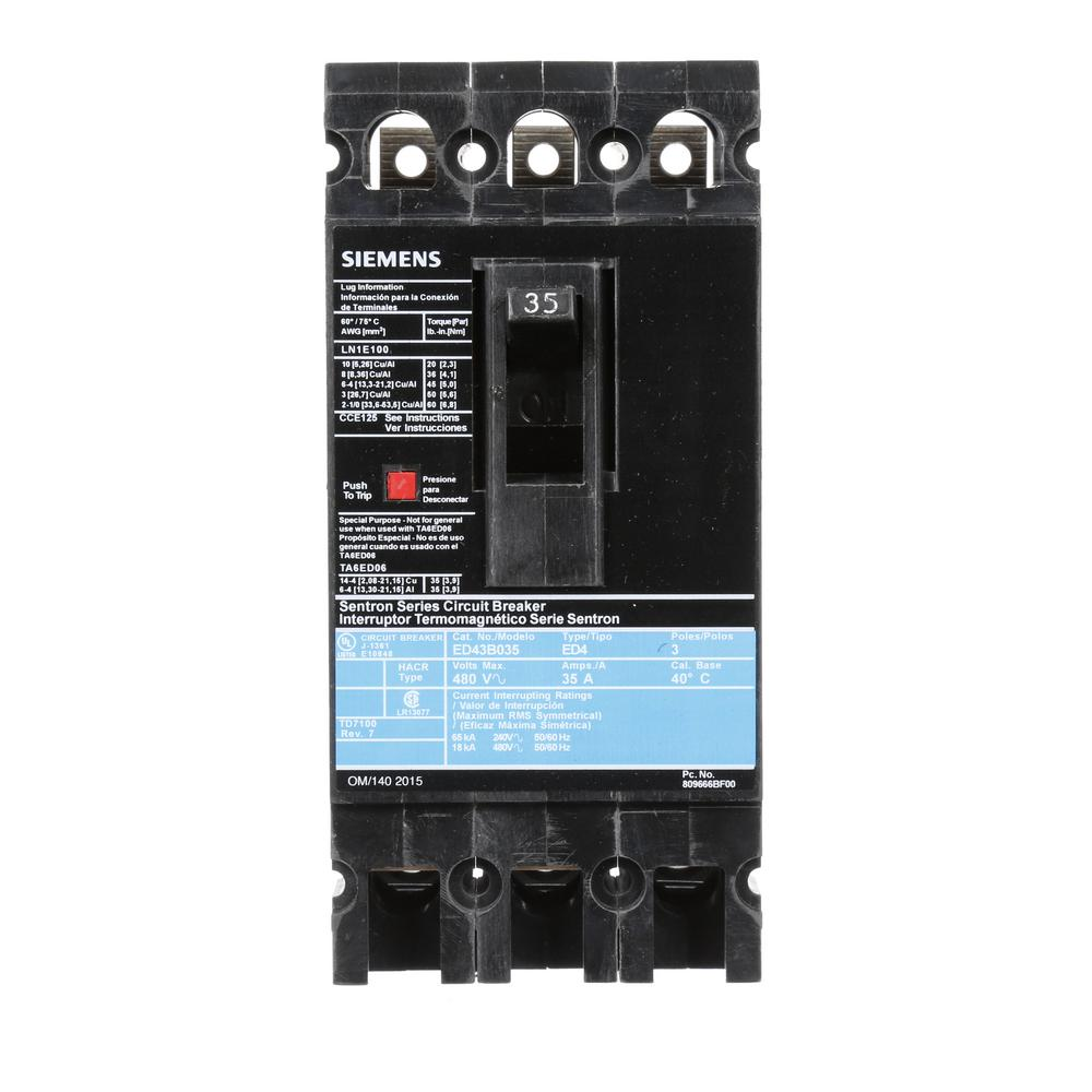 siemens 35 amp 3 pole type ed 18 ka circuit breaker ed43b035 the home depot. Black Bedroom Furniture Sets. Home Design Ideas