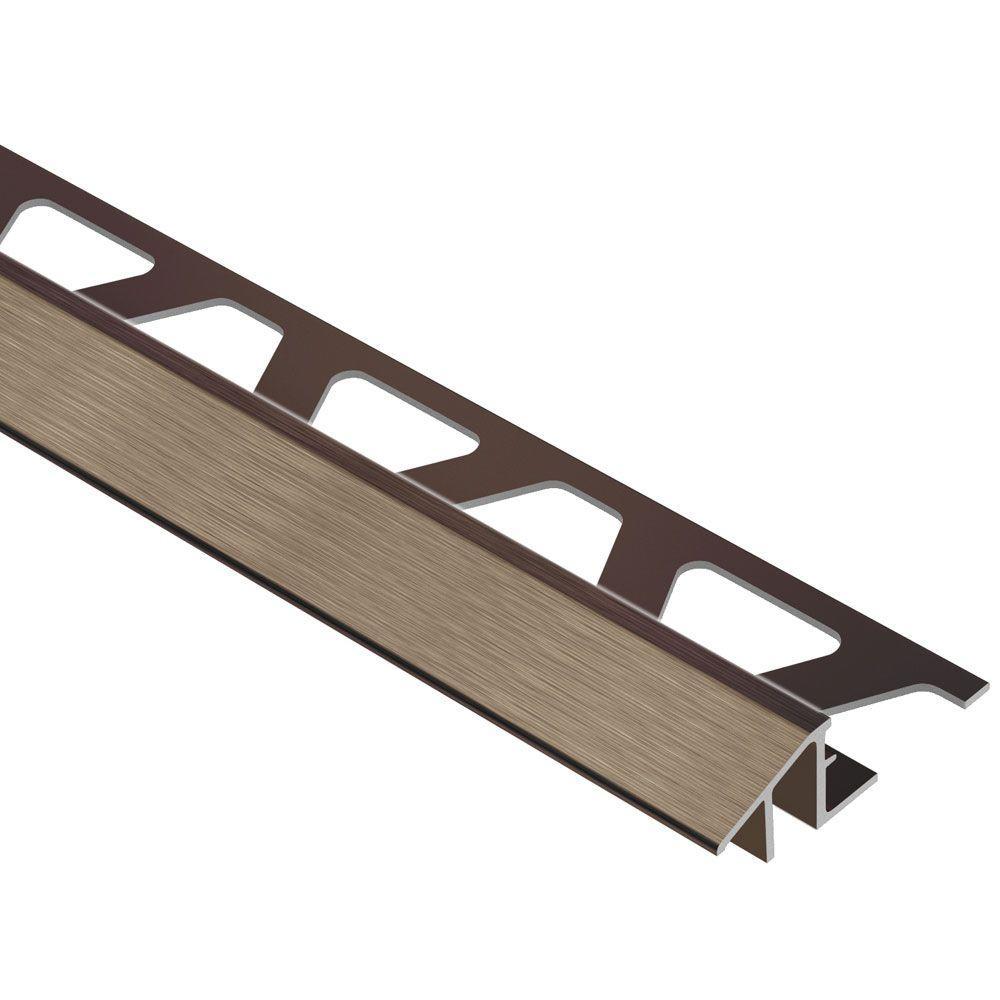 Reno-TK Brushed Antique Bronze Anodized Aluminum 1/2 in. x 8 ft. 2-1/2 in. Metal Reducer Tile Edging Trim