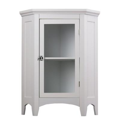 Wilshire 27-7/8 in. W x 32 in. H x 16-1/8 in. D Corner Bathroom Linen Storage Floor Cabinet in White