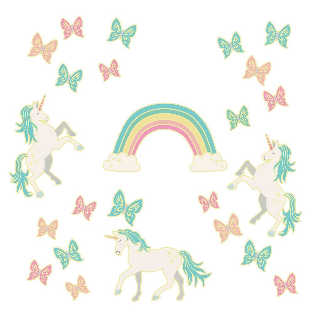 ebf8ca2d79a20 Enchanting Unicorns Glow in the Dark Wall Art Kit Wall Decals