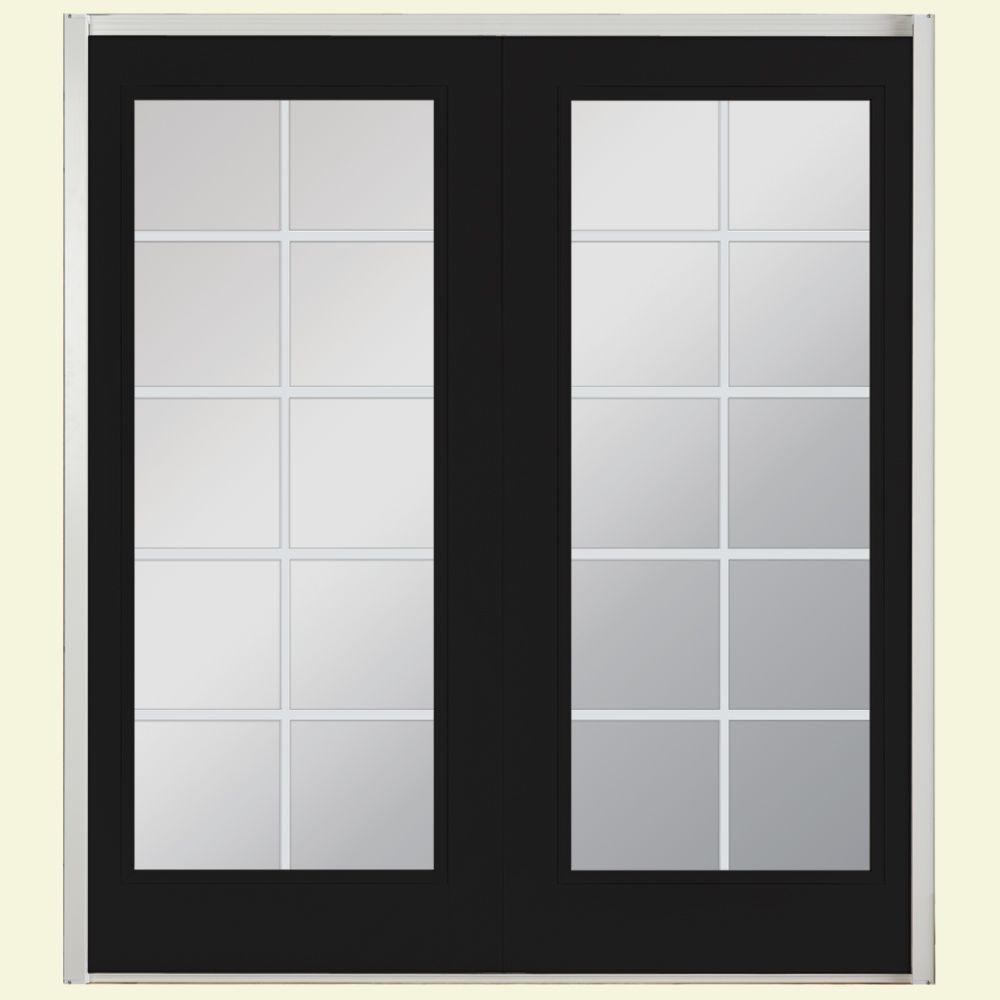 Masonite 60 in. x 80 in. Jet Black Prehung Right-Hand Inswing 10 Lite Steel Patio Door with No Brickmold