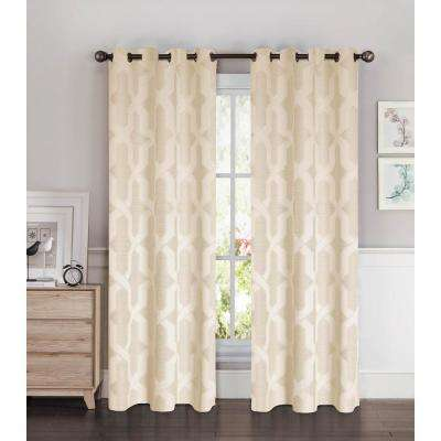 Semi-Opaque Drona Thermal 84 in. L Room Darkening Grommet Curtain Panel Pair, Taupe (Set of 2)