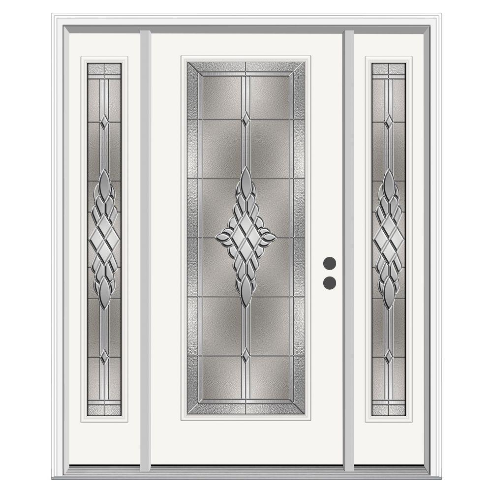 Hadley Full Lite Primed Steel Prehung Front Door with 14 in. Sidelites