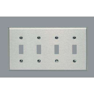 4-Gang 4-Toggle Standard Size Stainless Steel Wall Plate, Stainless Steel