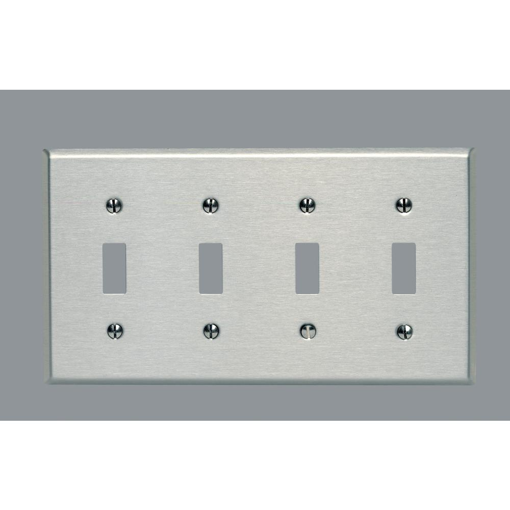 4 Switch Plate Stainless Steel  Switch Plates  Wall Plates  The Home Depot