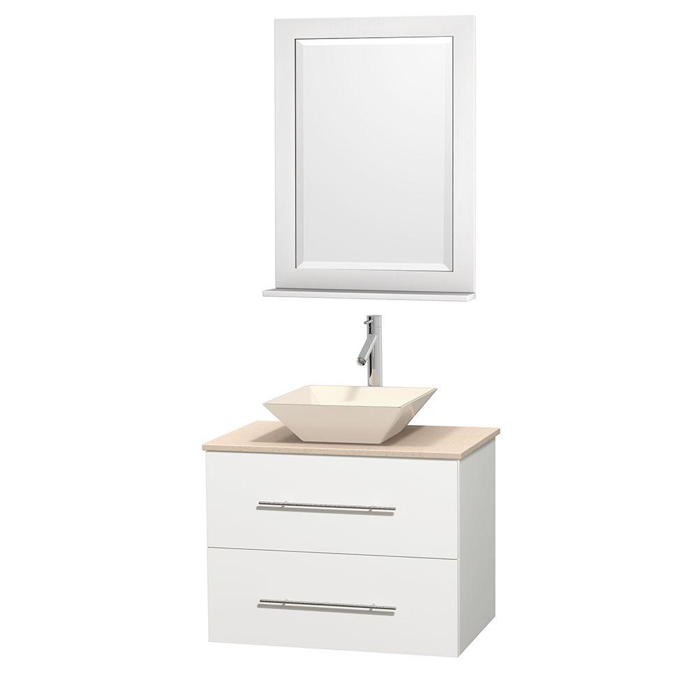 Wyndham Collection Centra 30 in. Vanity in White with Marble Vanity Top in Ivory, Bone Porcelain Sink and 24 in. Mirror