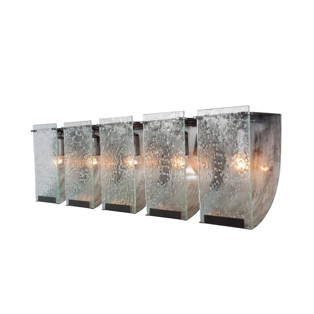 Varaluz Light Pewter Night Bath Vanity Light With Rain Glass - Five light bathroom vanity light