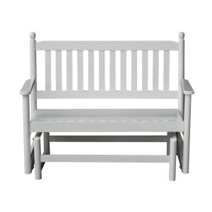 2-Person White Wood Outdoor Patio Glider by
