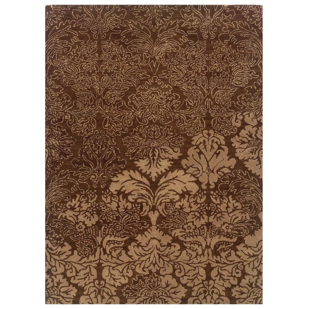 linon home decor florence collection brown and beige 8 ft x 10 ft indoor area rug rug fl0481. Black Bedroom Furniture Sets. Home Design Ideas