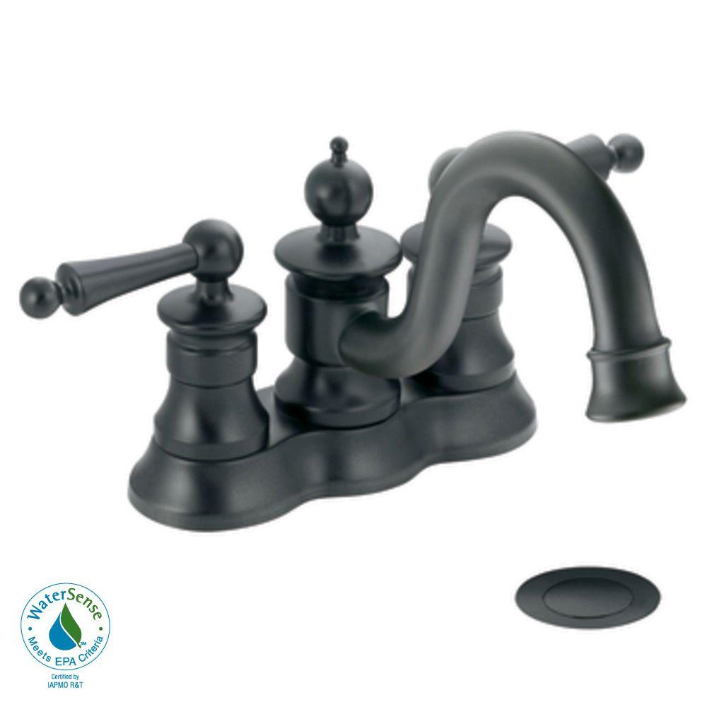 MOEN Waterhill 4 in. 2-Handle High-Arc Bathroom Faucet in Wrought Iron-DISCONTINUED
