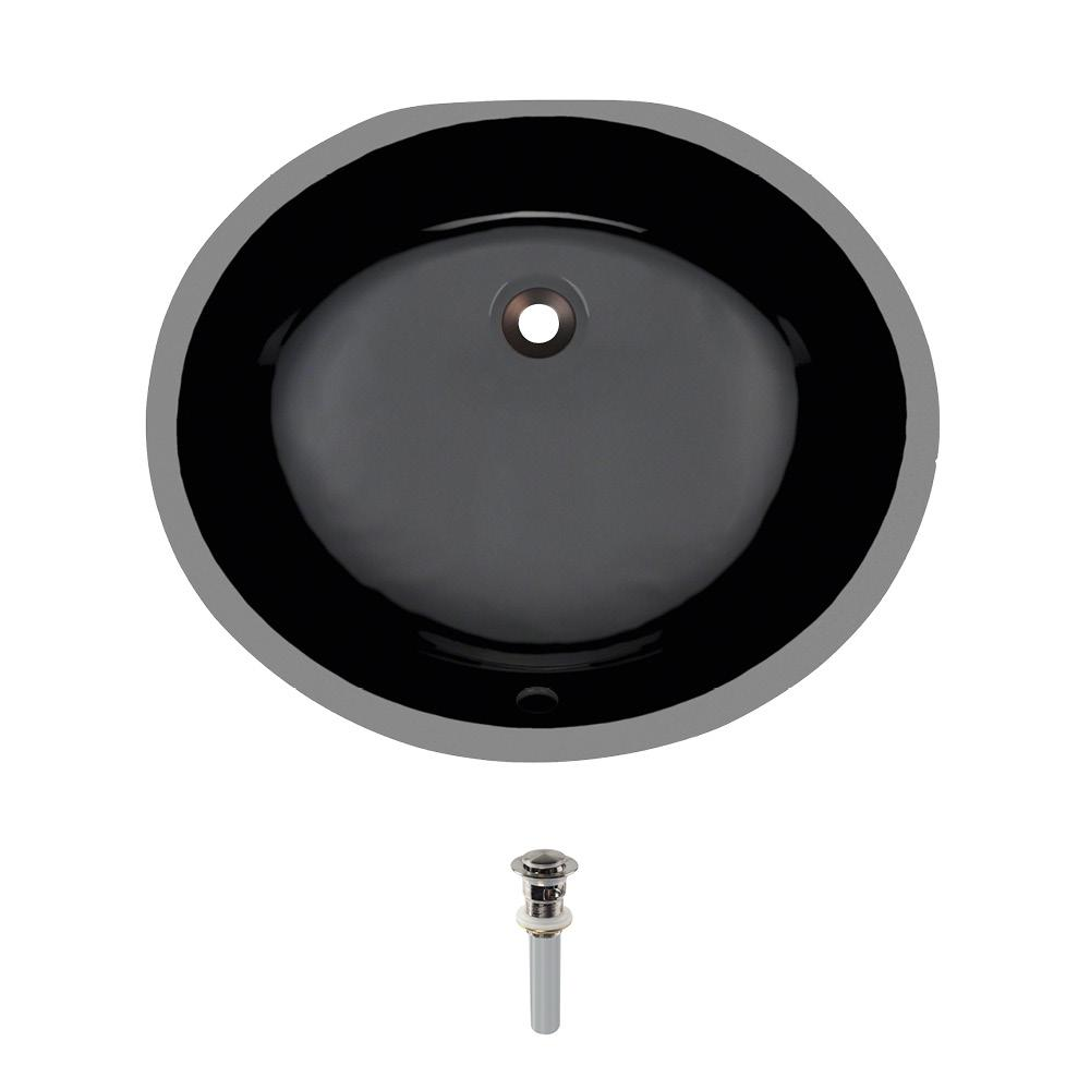 Undermount Porcelain Bathroom Sink in Black with Pop-Up Drain in Brushed