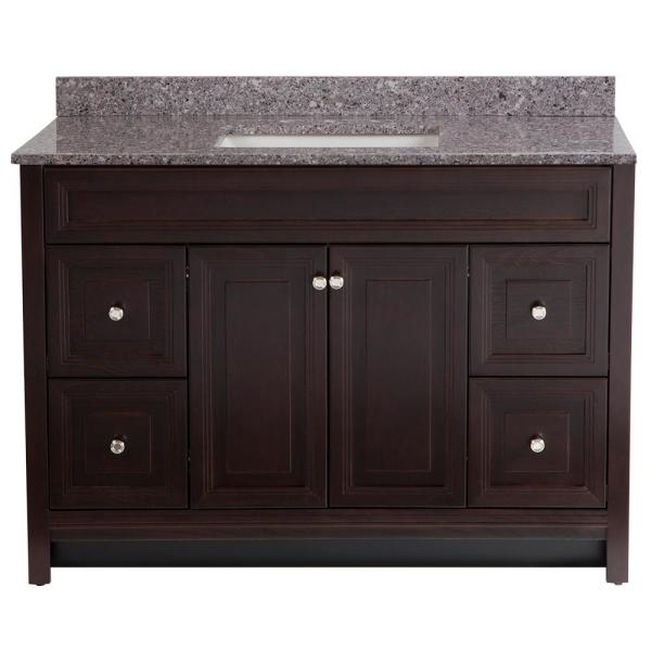 Brinkhill 49 in. W x 22 in. D Bath Vanity in Chocolate with Stone Effect Vanity Top in Mineral Gray with White Sink