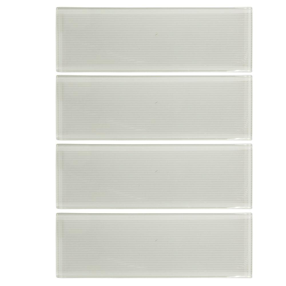 Jasmine White 3 in. x 12 in. x 8 mm Glass