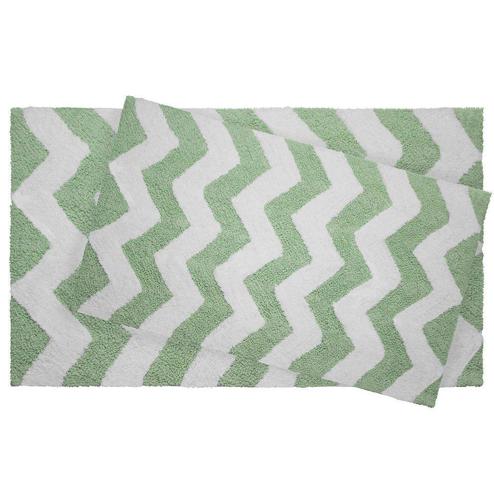 Jean Pierre Reversible Cotton Soft Zigzag Mint 2 Piece Bath Mat Set
