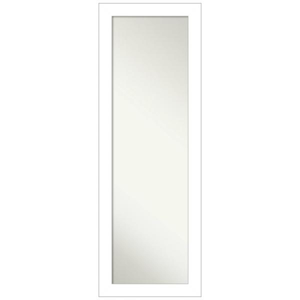 Large Rectangle Satin White Hooks Modern Mirror (52.25 in. H x 18.25 in. W)