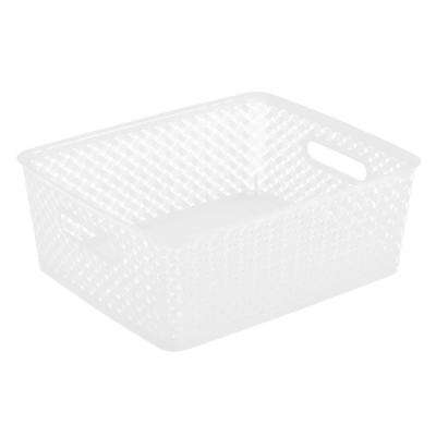 14 in. x 11.5 in. x 5.15 in. Medium Resin Wicker Storage Bin in White