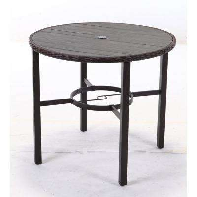 Harper Creek Dark Brown Wicker Outdoor Balcony Height Dining Table