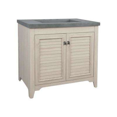 Delilah 36 in. W x 22 in. D Vanity in Antique White Wash with Faux Cement Vanity Top