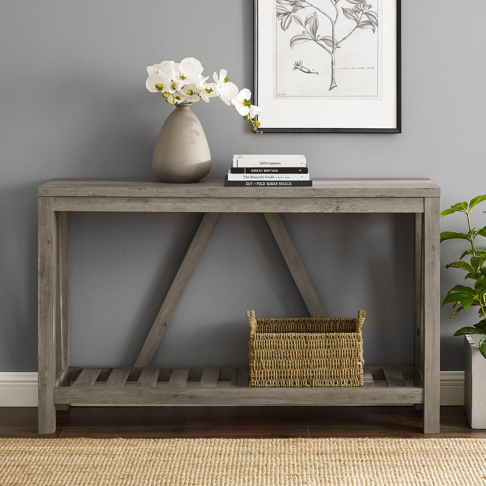 52 in. A-Frame Grey Wash Entry Console Table