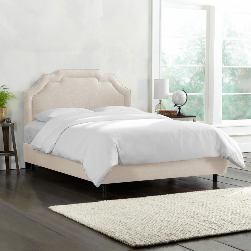 Leona Linen Talc King Upholstered Border Bed