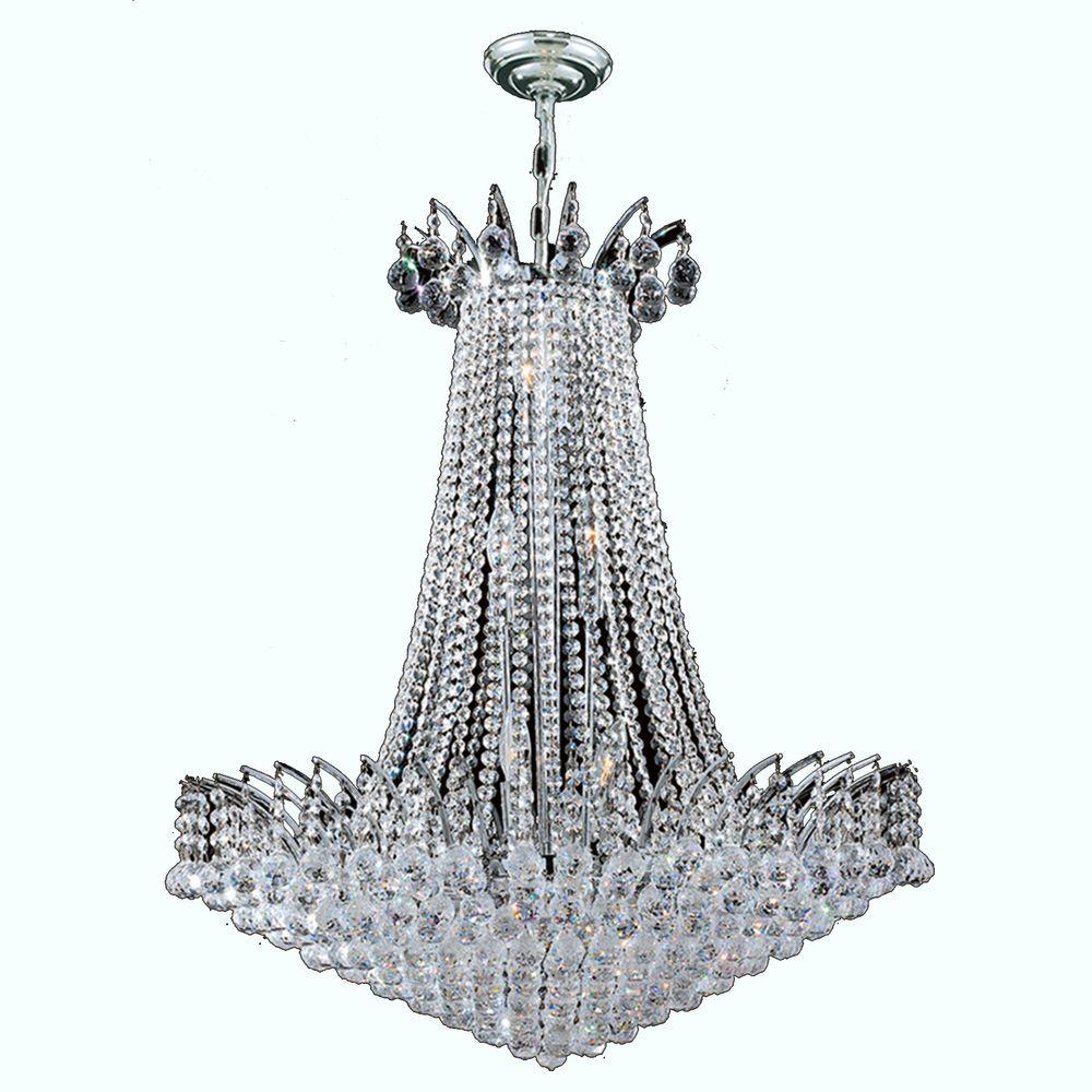 Worldwide Lighting Empire Collection 16-Light Polished Chrome and Crystal Chandelier