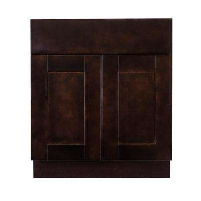 Anchester Assembled 24 in. x 34.5 in. x 24 in. Base Cabinet with 2 Doors and 1 Drawer in Dark Espresso