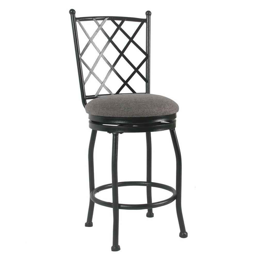 Upholstered 24 in. Gray Bar Stool