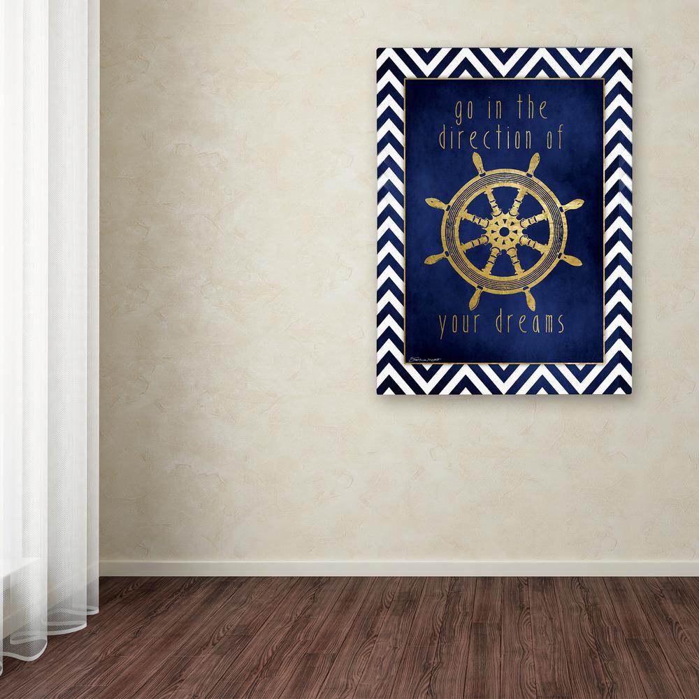 """Trademark Fine Art 19 in. x 14 in. """"Wheel In Gold"""" by Stephanie Marrott Printed Canvas Wall Art"""