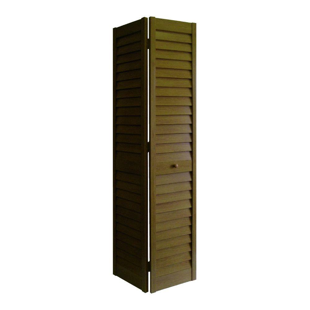 Home Fashion Technologies 32 in. x 80 in. 3 in. Louver/Louver Walnut ...