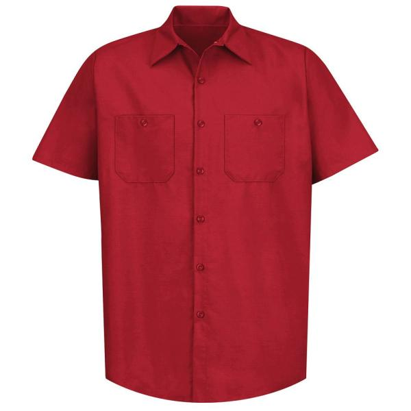 Red Kap Men S Size 2xl Tall Red Industrial Work Shirt Sp24rd Ssl Xxl The Home Depot