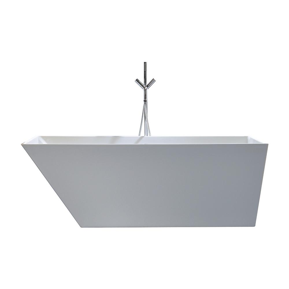 Cabrillo 67 in. Acrylic Flatbottom Non-Whirlpool Bathtub in White