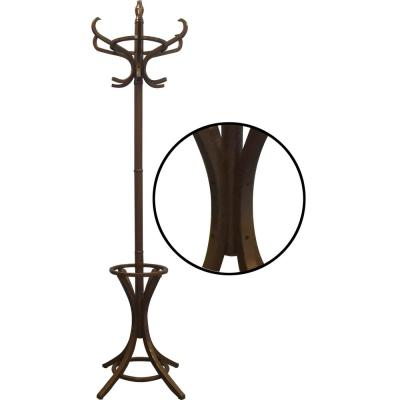 73 in. Dark Walnut Floor Standing Coat Rack with Umbrella Stand