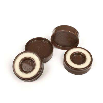1-3/4 in. Chocolate Brown Furniture Caster Cups/Floor Protector Coasters Round for Furniture Legs (Set of 4 Grippers)