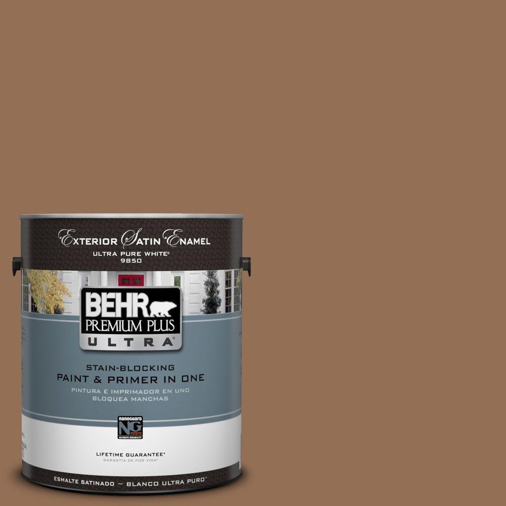 BEHR Premium Plus Ultra 1-Gal. #UL140-21 Toffee Bar Satin Enamel Exterior Paint
