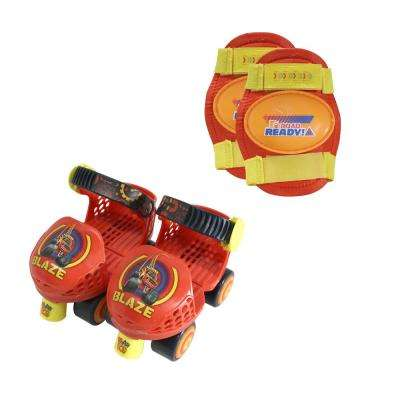 Blaze and the Monster Machines Junior Size 6-12 Roller Skates with Knee Pads