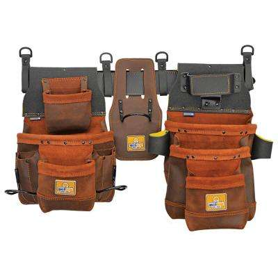 20 in. 12-Pocket Elite Series Pro Framer's Leather Tool Belt with Right-Handed Hammer Holder Layout in Brown