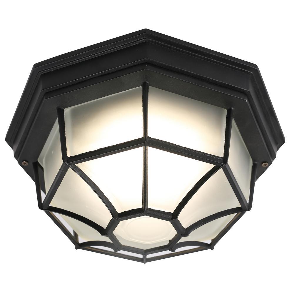 1-Light Integrated LED Flush Mount Ceiling Light in Black