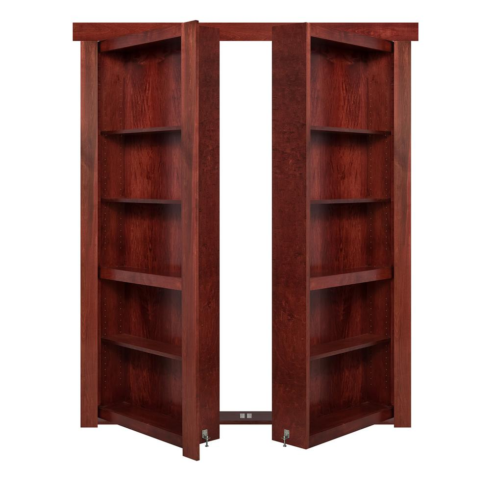 The Murphy Door 60 in. x 80 in. Flush Mount Assembled Cherry Stained In-Swing Solid Core Interior French Bookcase Door