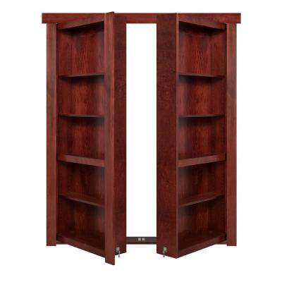 60 in. x 80 in. Flush Mount Assembled Cherry Stained In-Swing Solid Core Interior French Bookcase Door
