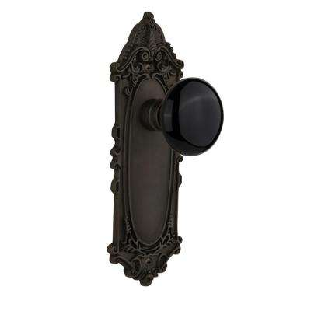 Victorian Plate 2-3/8 in. Backset Oil-Rubbed Bronze Passage Black Porcelain Door Knob