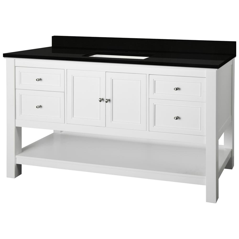 Home Decorators Collection Gazette 61 in. W x 22 in. D Bath Vanity in White with Granite Vanity Top in Midnight Black with Trough White Basin was $1499.0 now $899.4 (40.0% off)