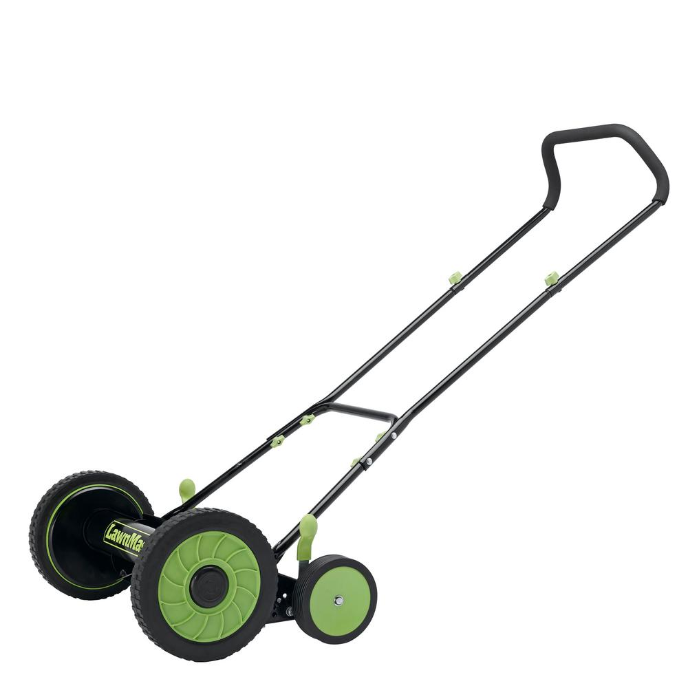 Fiskars 18 in. Cut manual push non-electric walk behind reel mower.