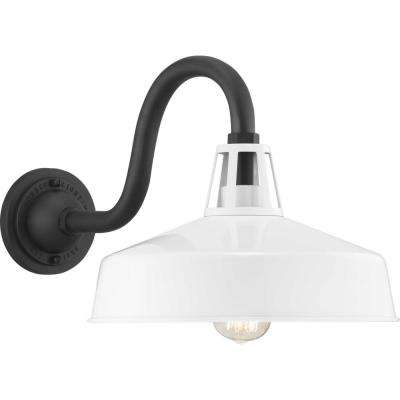 Cedar Springs Collection 1-Light White Outdoor Wall Mount Barn Light Sconce Latern