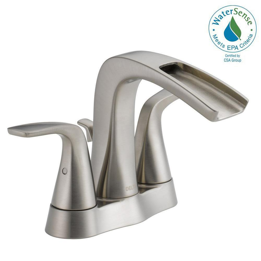 Delta Tolva In Centerset Handle Bathroom Faucet In Brushed - Delta waterfall bathroom faucet